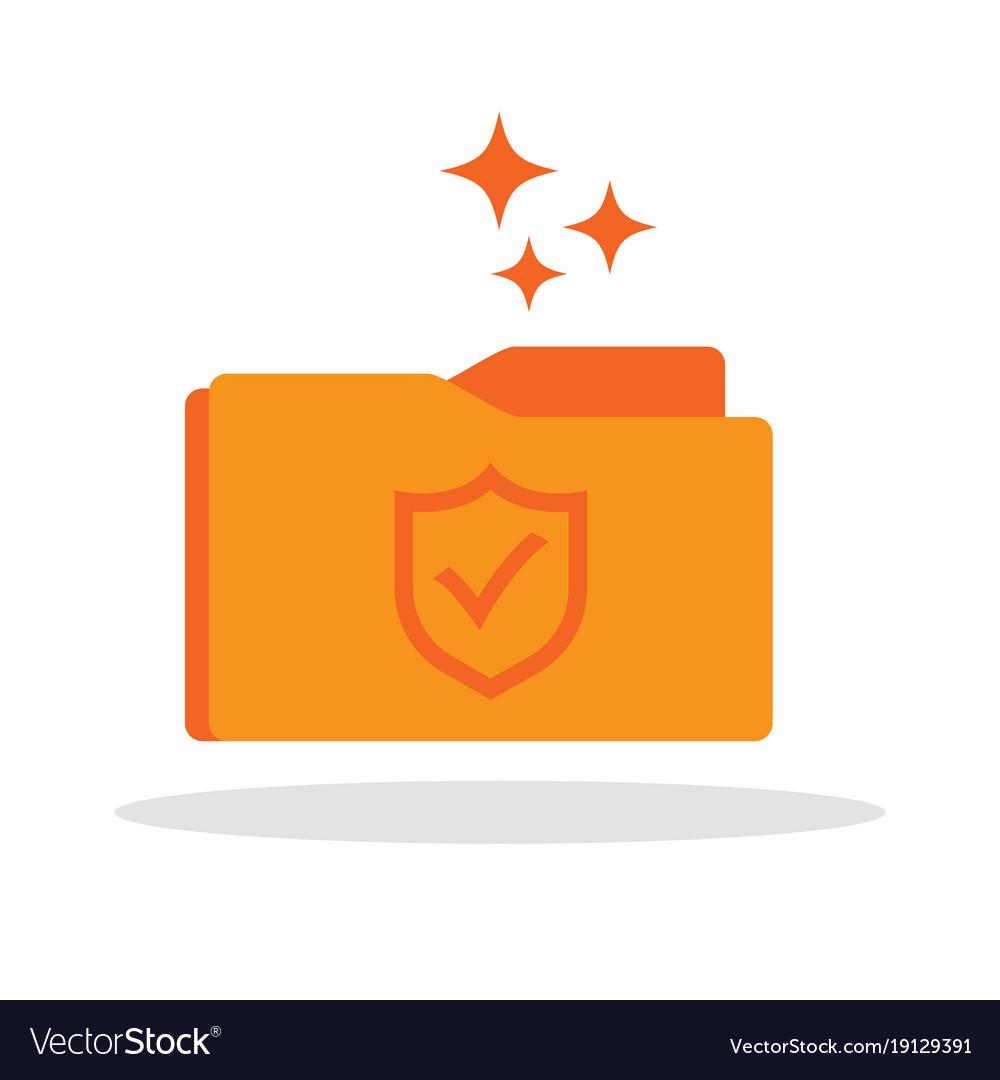 Document folder icon with shield guard symbol