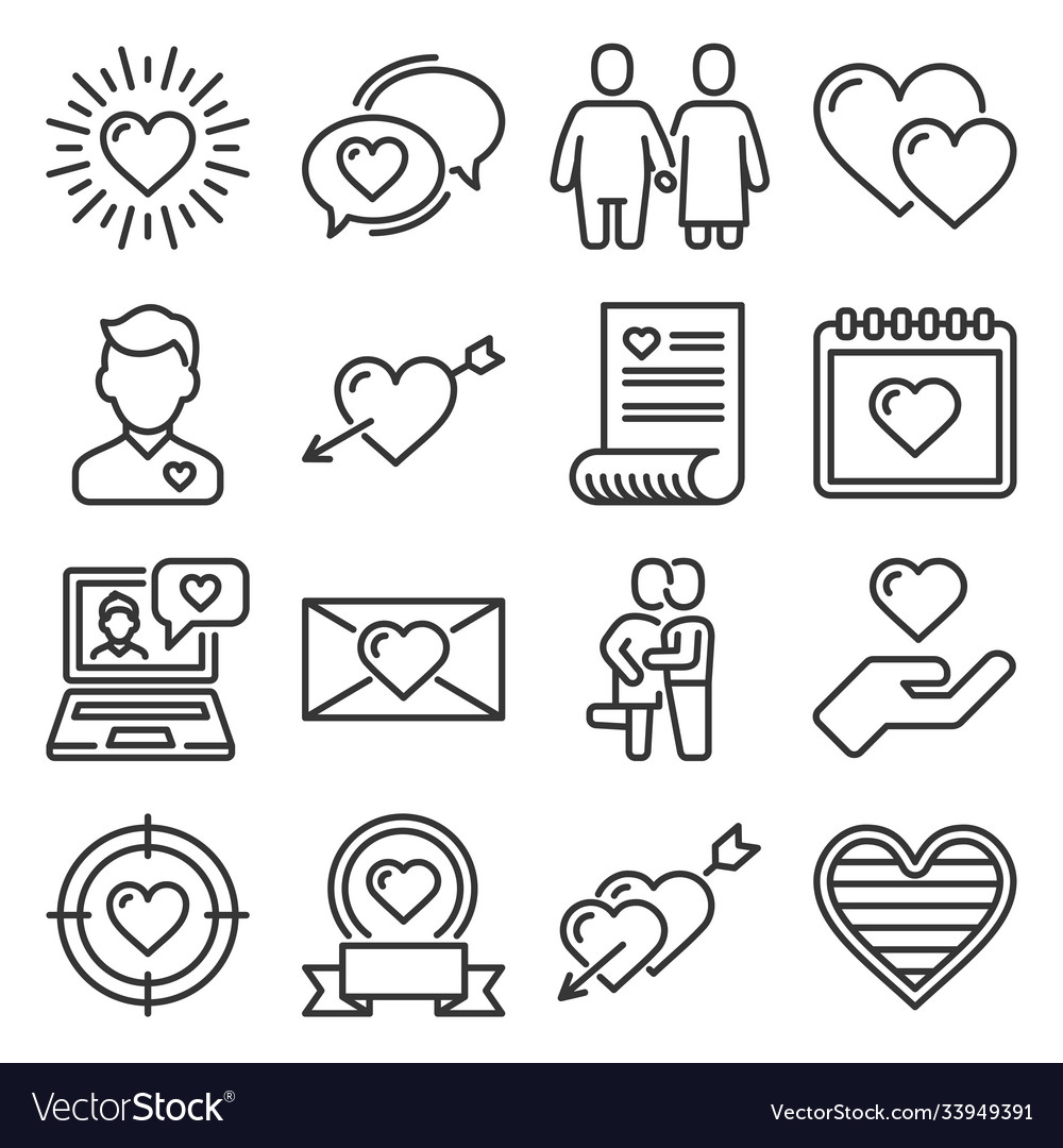 Heart icons set love sign on white background