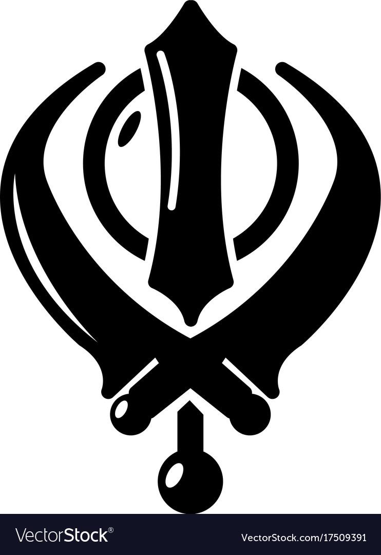 Khanda Symbol Sikhism Religion Icon Simple Style Vector Image