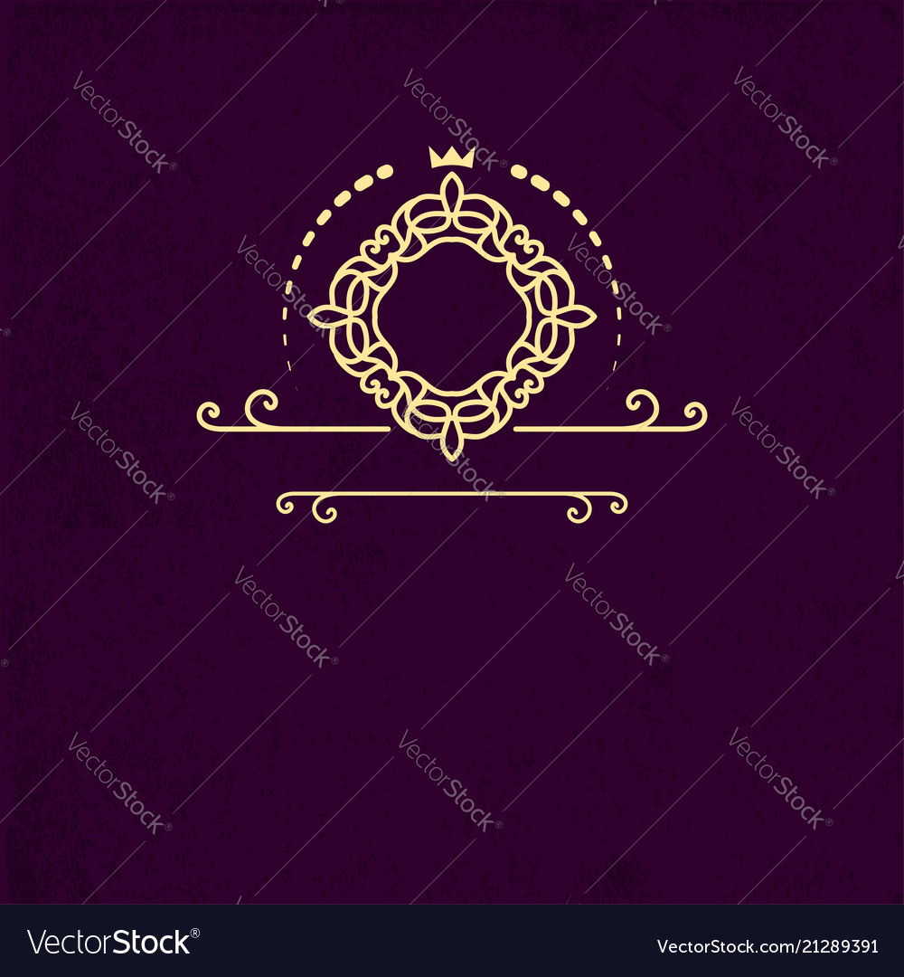 Monogram frame template with curls ornament vector image