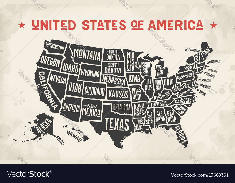 Poster map united states america with state
