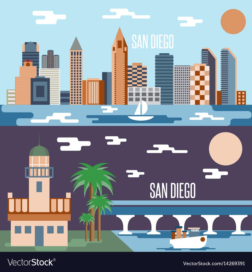 San diego landmarks horizontal flat design banners
