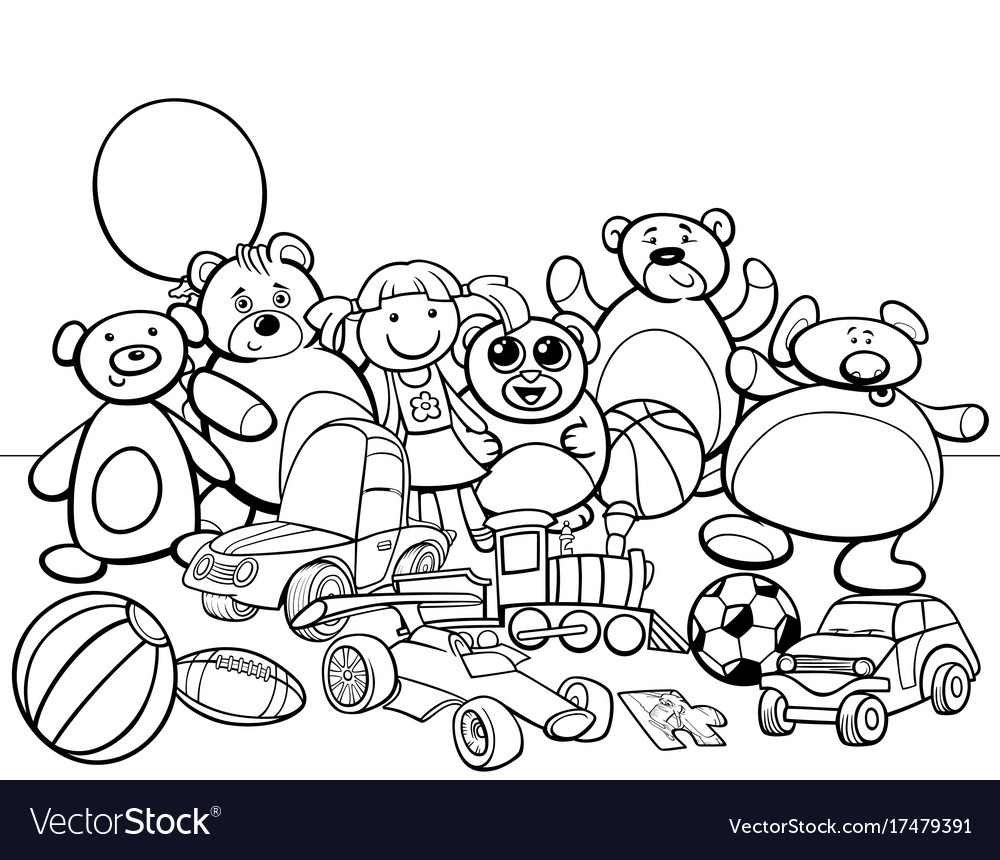 - Toys Group Cartoon Coloring Book Royalty Free Vector Image