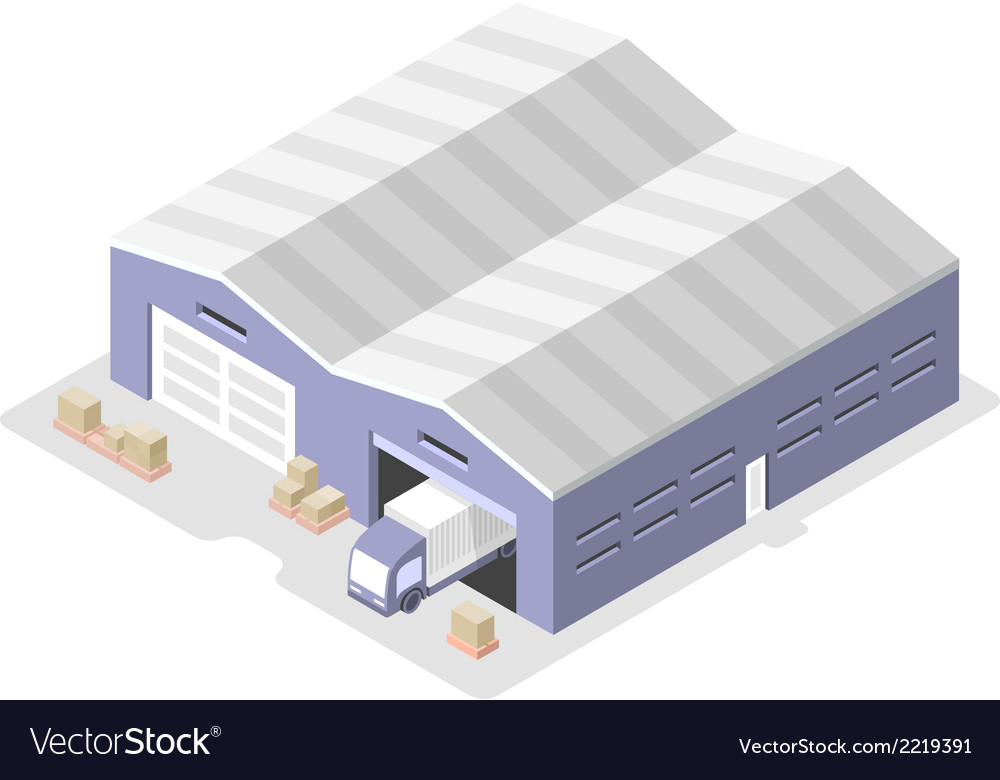 Truck in the Warehouse Distribution Center vector image