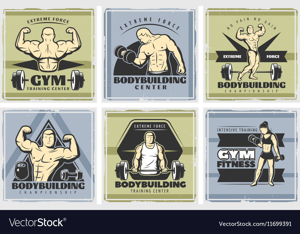 Vintage Body Building Poster Set