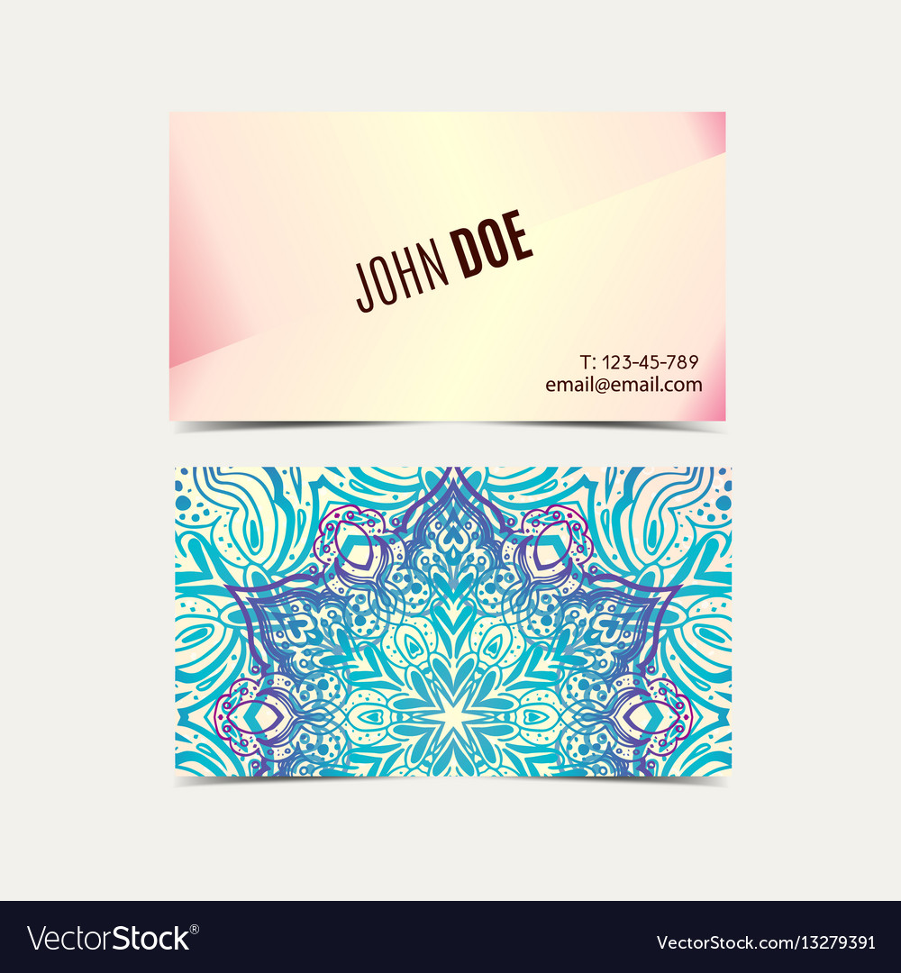 Vintage business cards floral mandala royalty free vector vintage business cards floral mandala vector image reheart Gallery