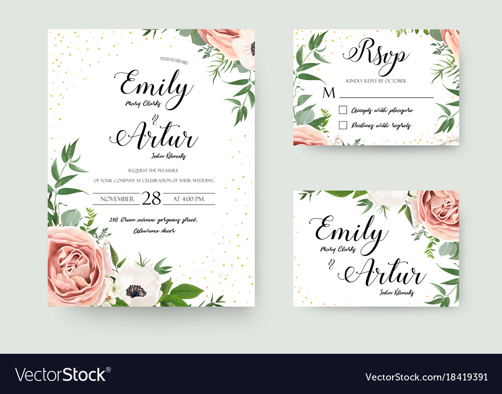 Wedding floral invite invitation thank you rsvp Vector Image