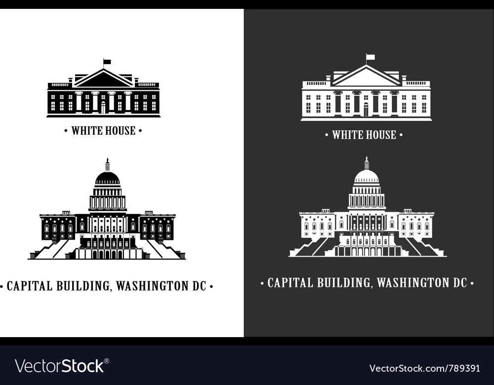 White house and capitol building in washington vector image