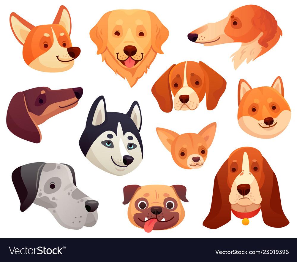 Cartoon dog head funny puppy pet muzzle smiling