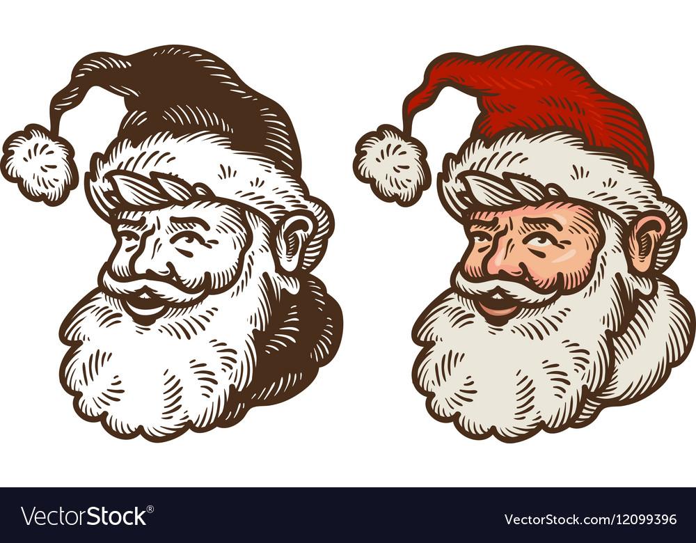 Christmas symbol Portrait of funny Santa Claus vector image