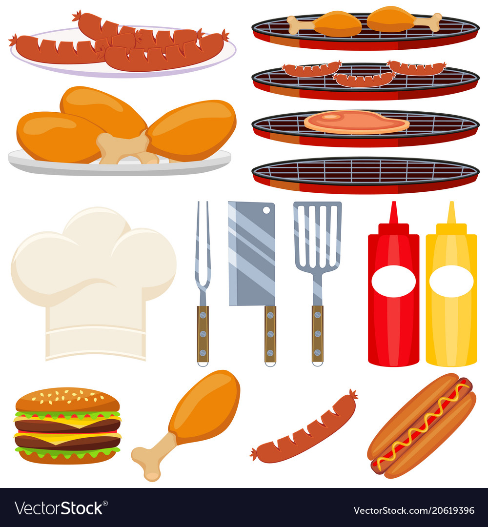 Colorful cartoon bbq cooking 15 element set