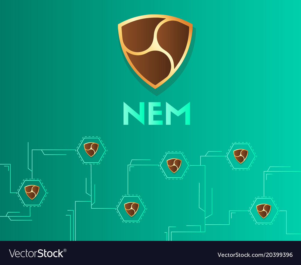 Cryptocurrency Nem Blockchain Virtual Circuit Vector Image