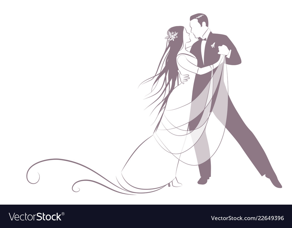 Elegant groom and beautiful bride with long mane