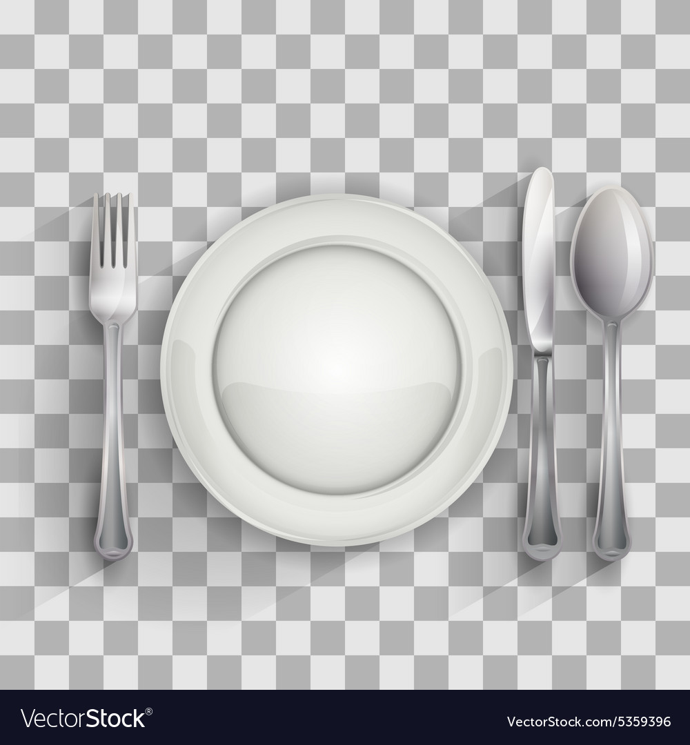 Empty plate with spoon knife and fork