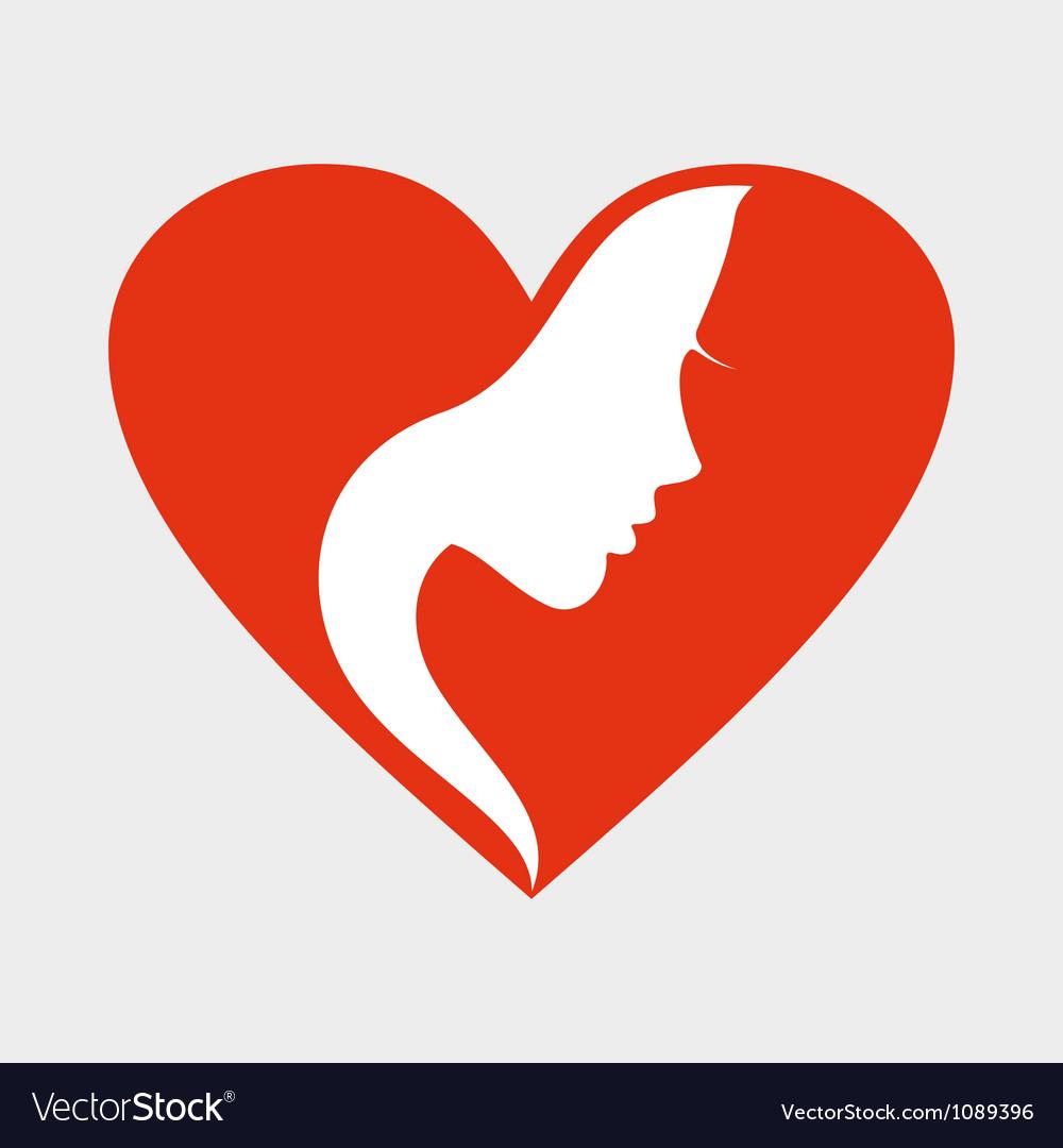 Girl heart vector image