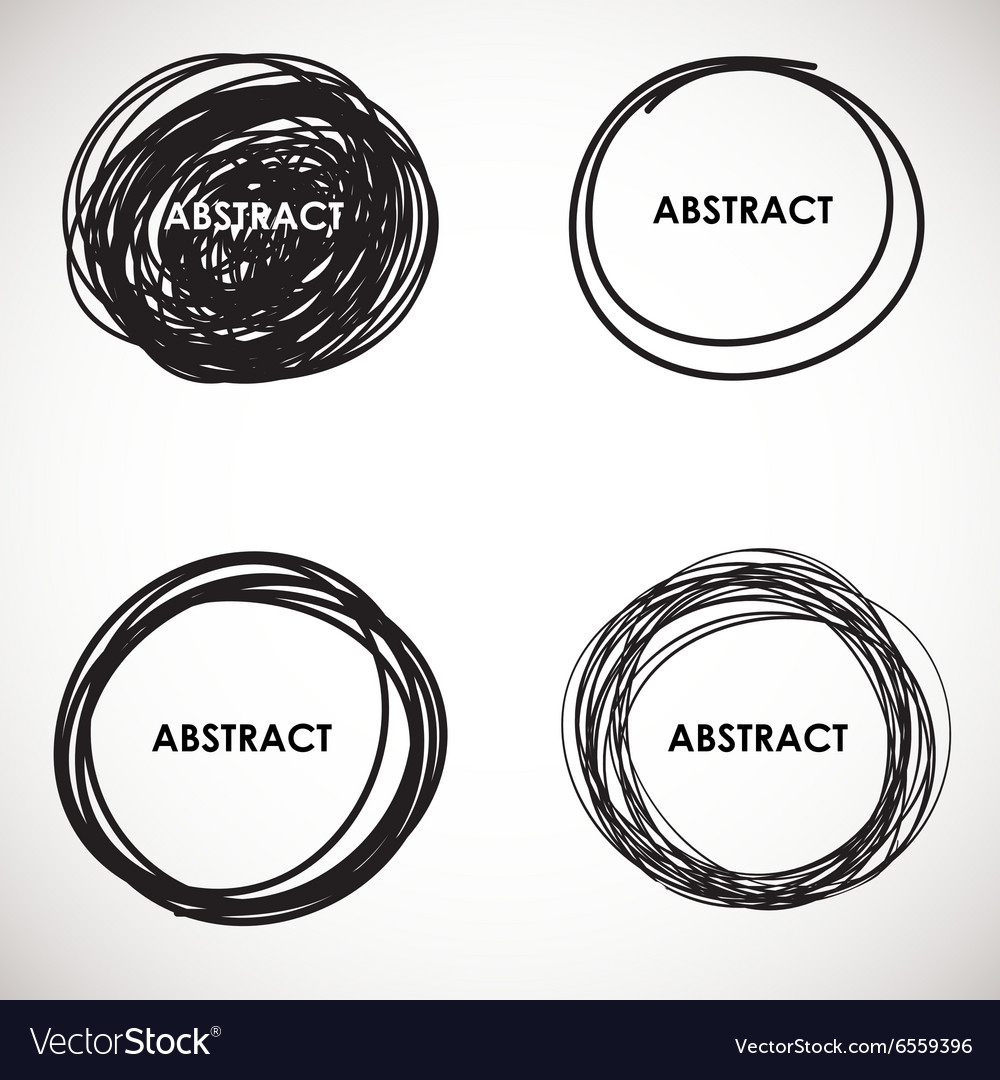 Grunge circle brush strokes set design vector image
