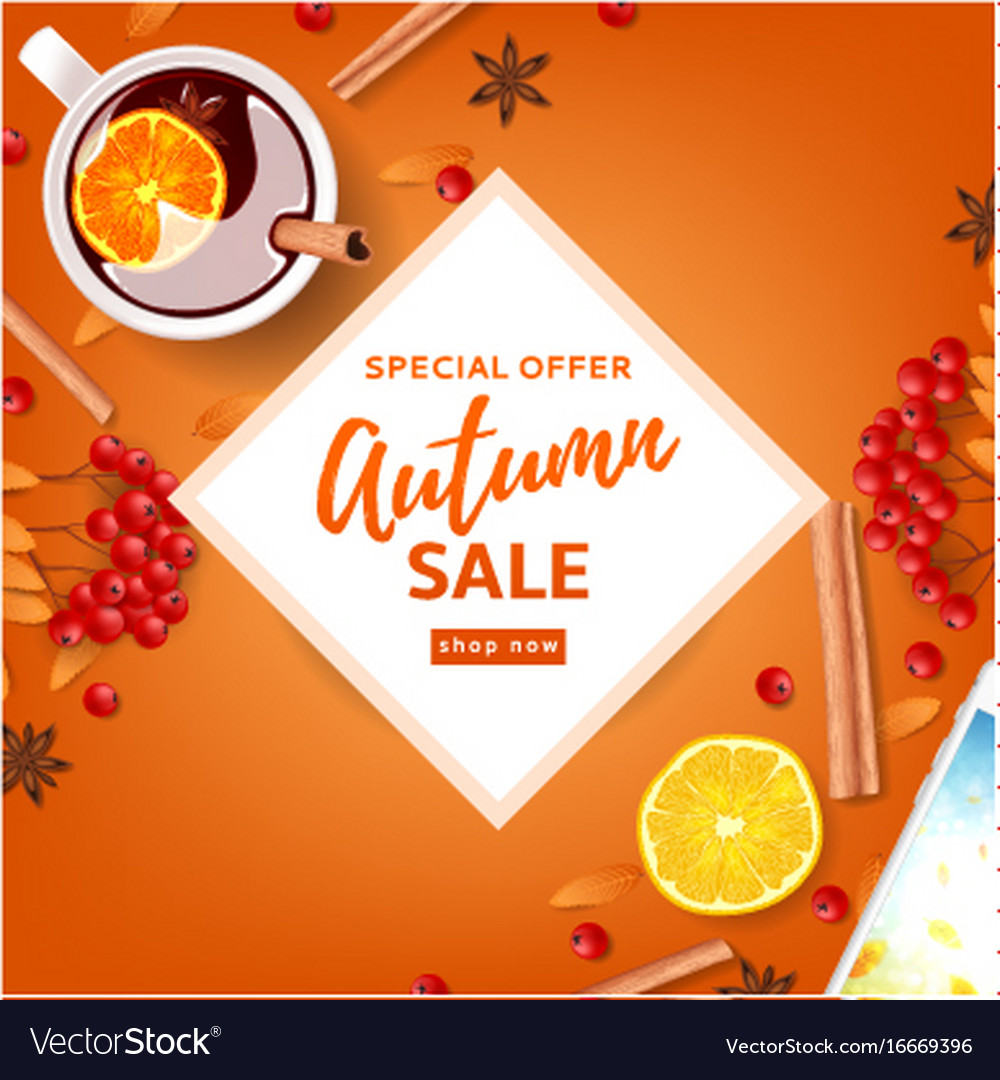 Orange background for autumn seasonal sale
