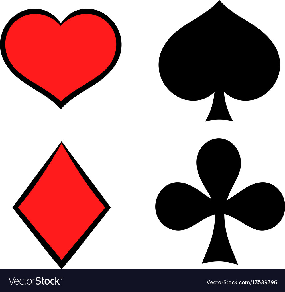 Playing card suit in black and red icon vector image