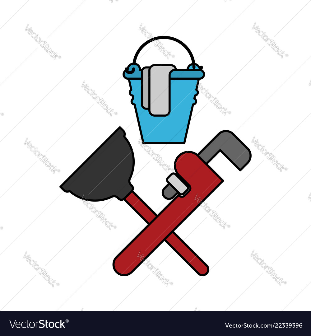 Plumber service emblem plumber and logo cleaning