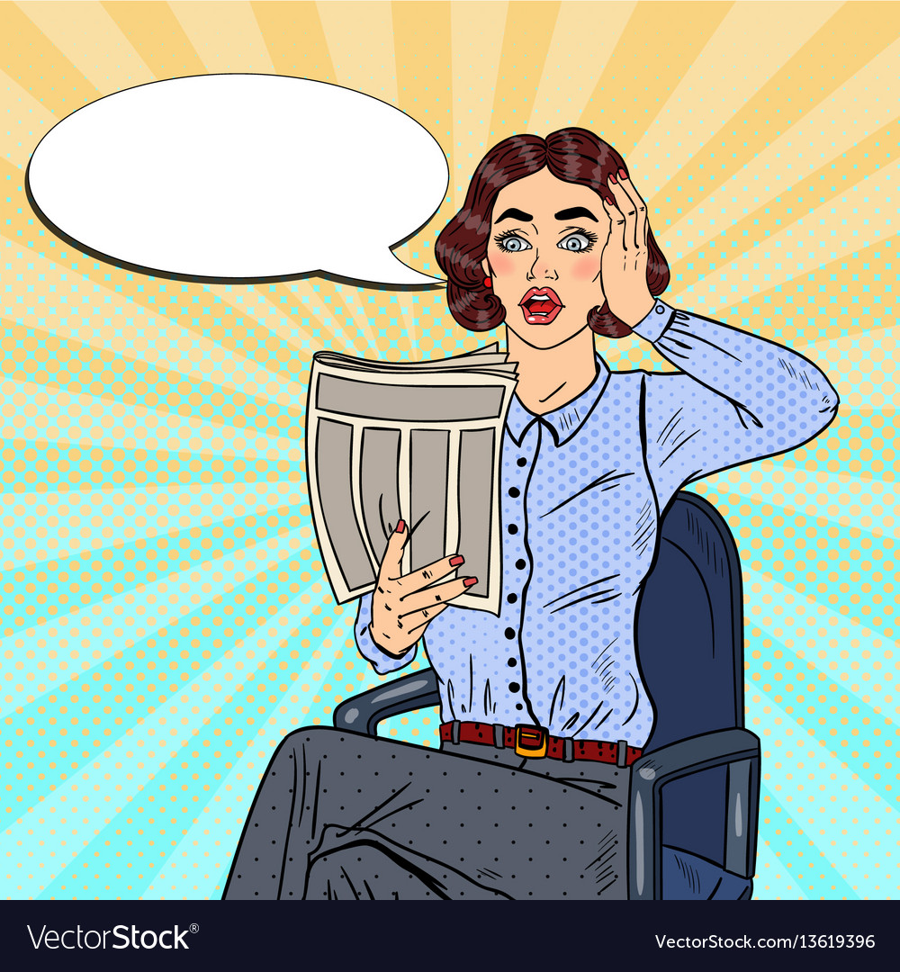 Pop art shocked woman reading a newspaper vector image