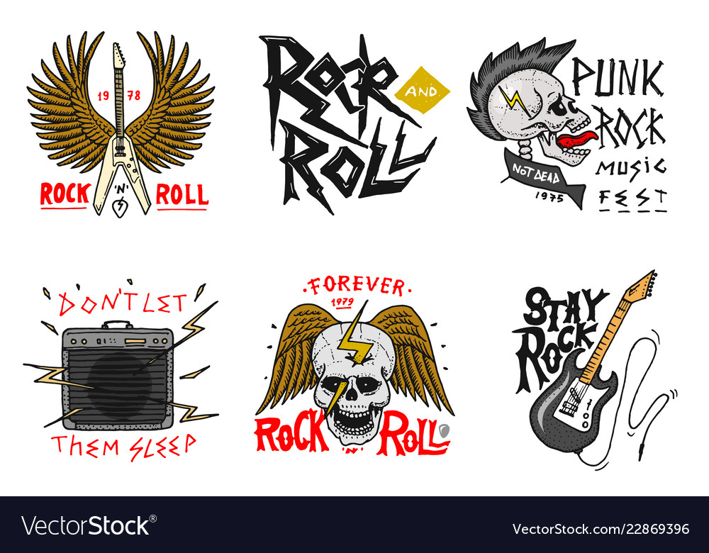 71a5959fc Set of rock and roll music symbols with guitar Vector Image