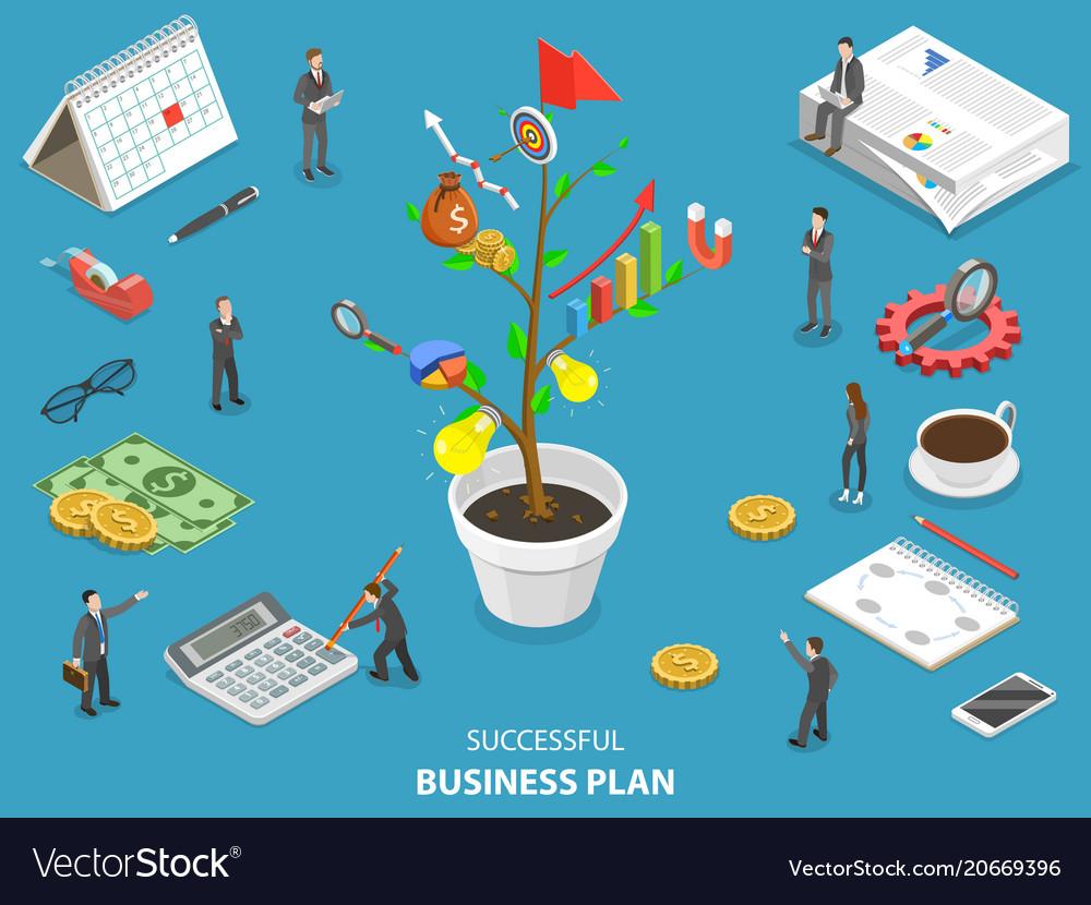 Succesfull business plan flat isometric