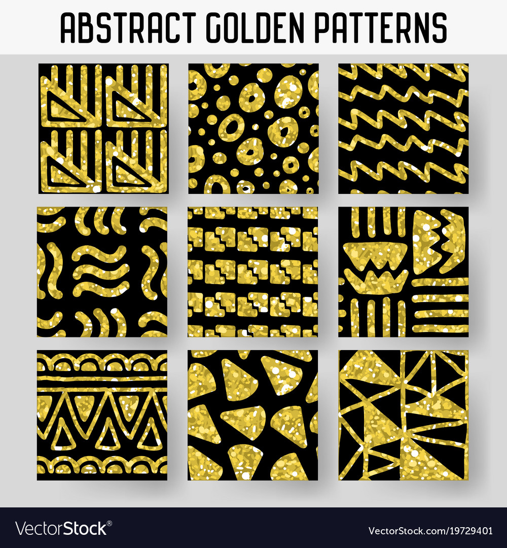 Abstract gold glitter hand drawn seamless patterns