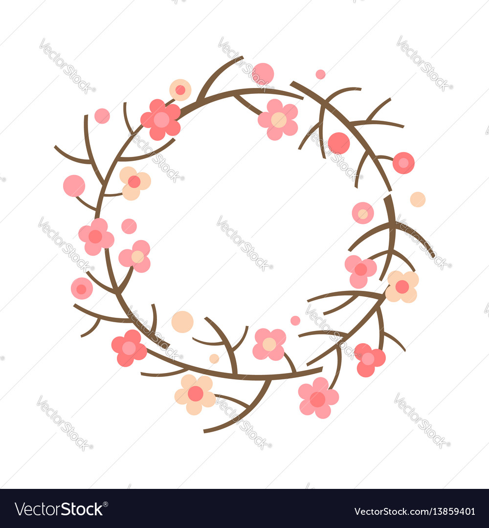 Decorative spring wreath frame from blooming