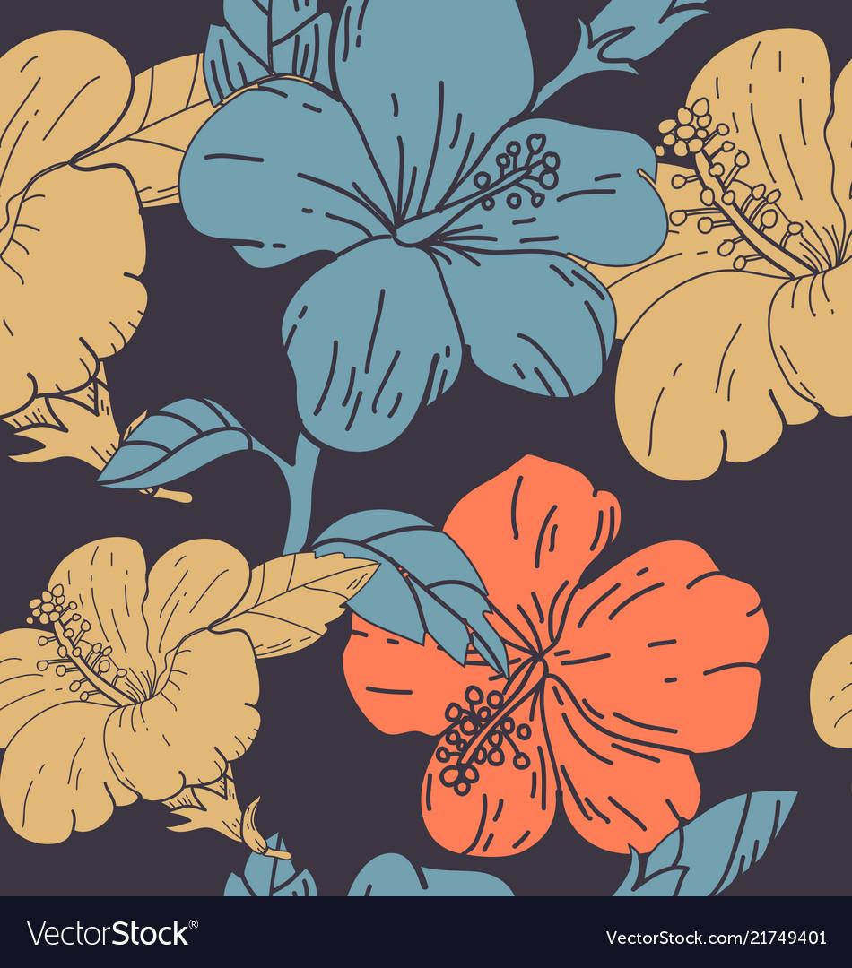 Hibicus flowers pattern 2