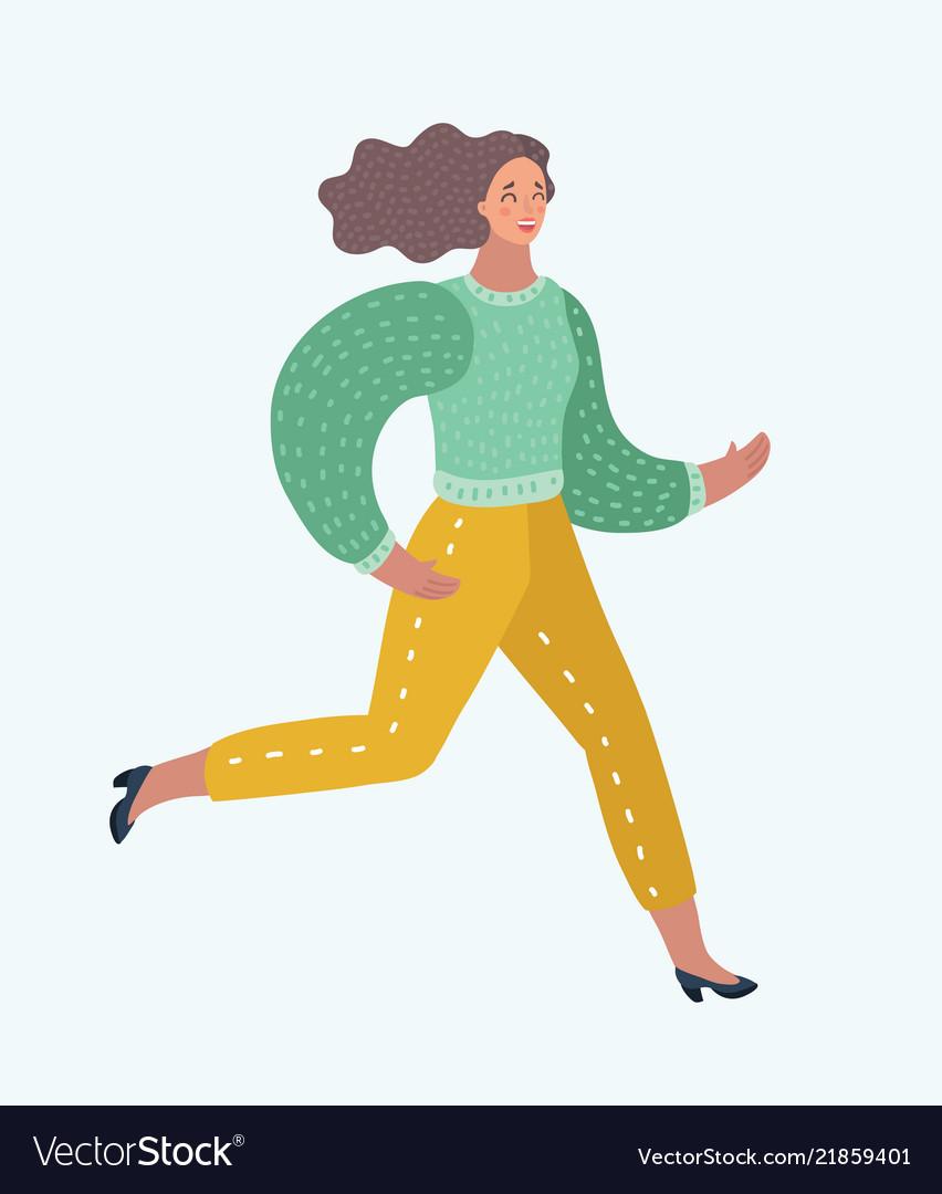 Hurried women running