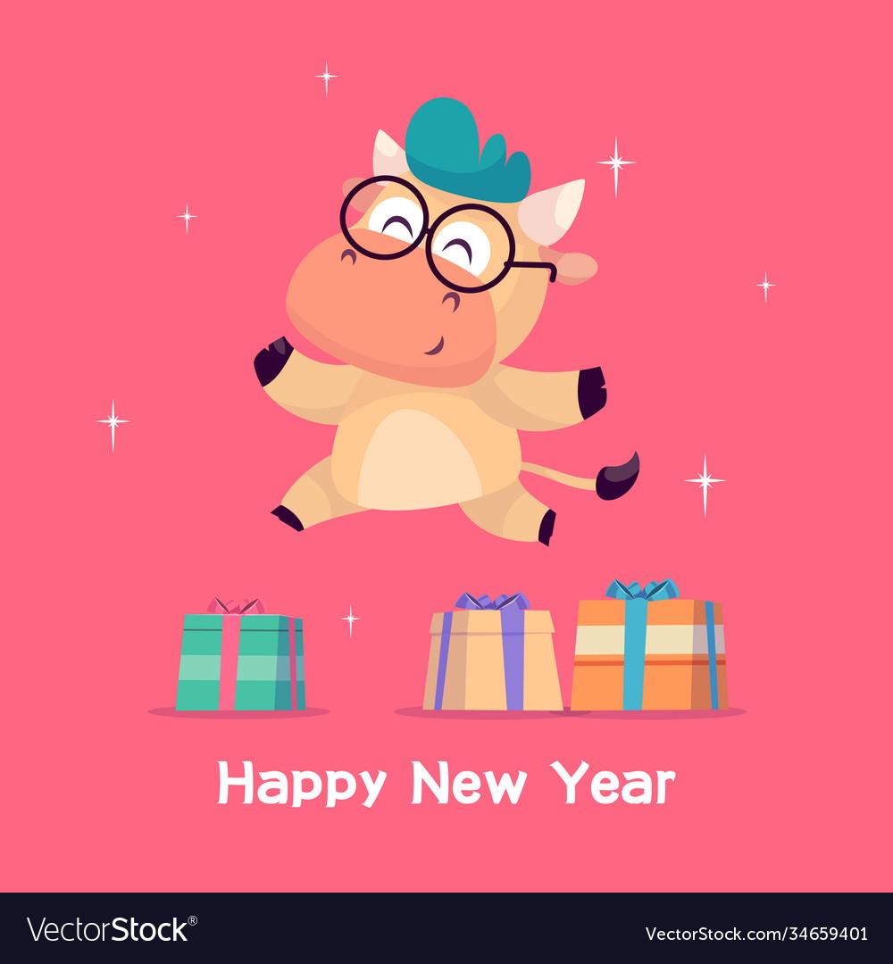 Little bull jumps near gift box year