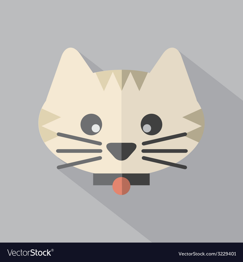 Modern Flat Design Cat Icon