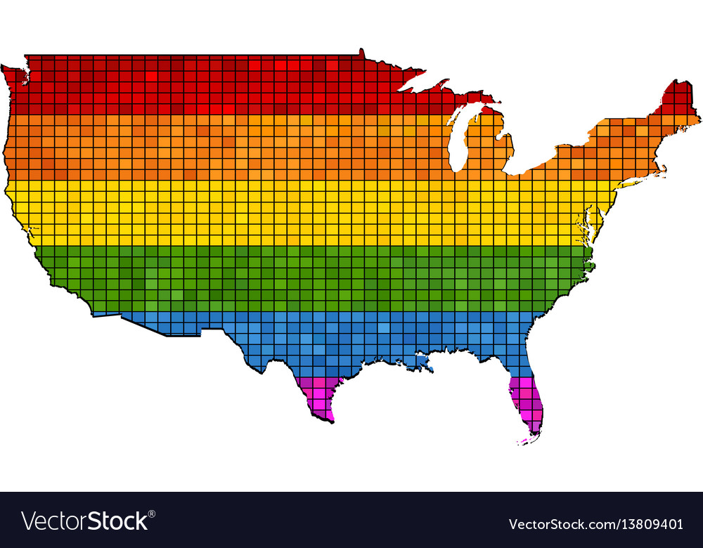 Mosaic map of usa in colors of lgbt vector image