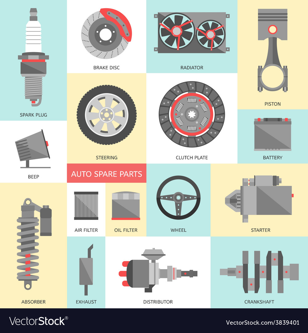 Parts Of A Car 94 >> Set Of Auto Spare Parts Car Repair Icons In Flat