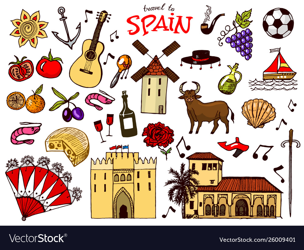 Spanish traditional symbols and objects set of