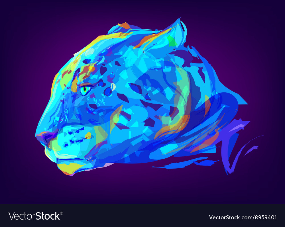 The cute colored jaguar head