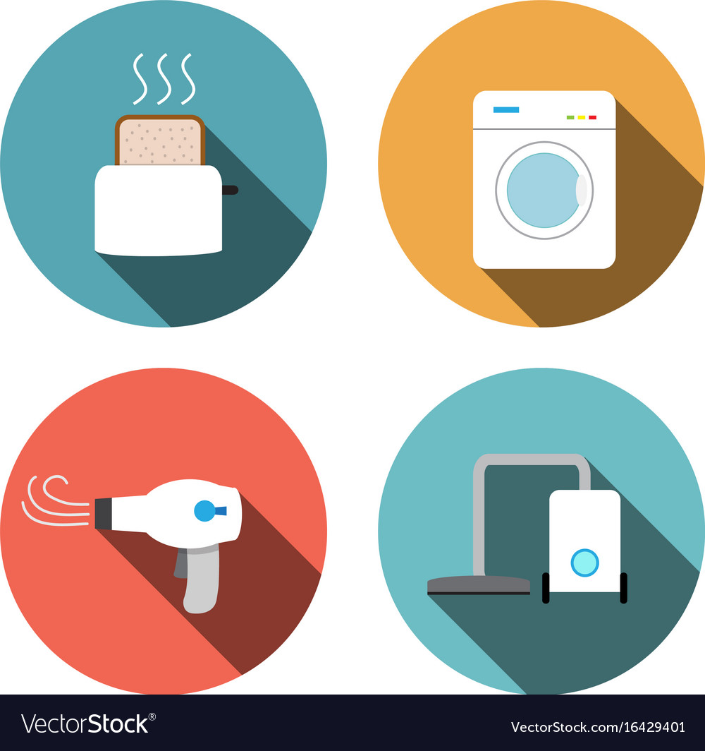 Toaster hair dryer washing vacuum cleaner icons
