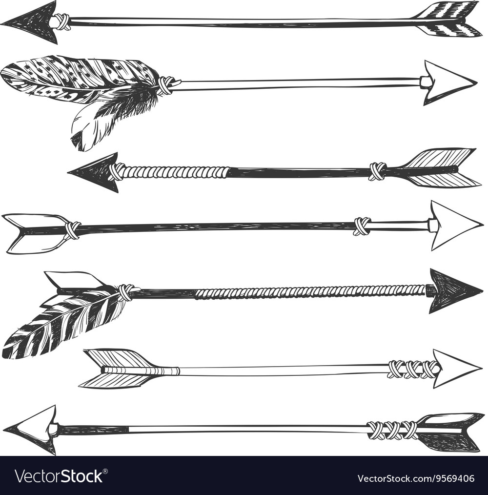 It is a graphic of Declarative Native American Arrow Drawing