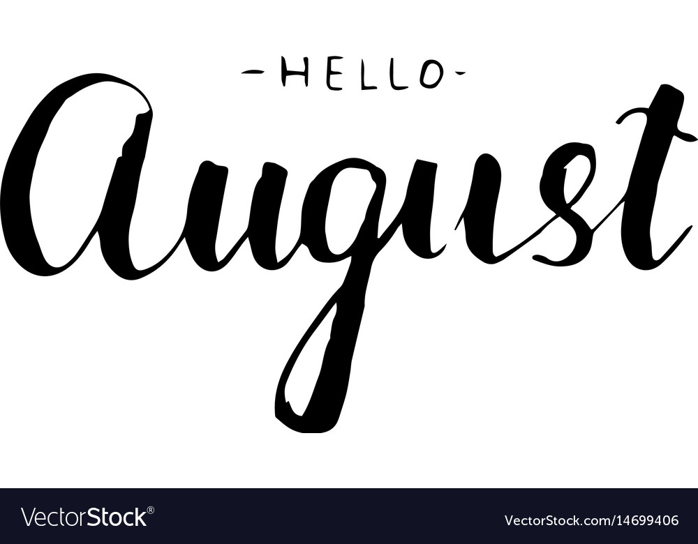 August lettering print summer vector image
