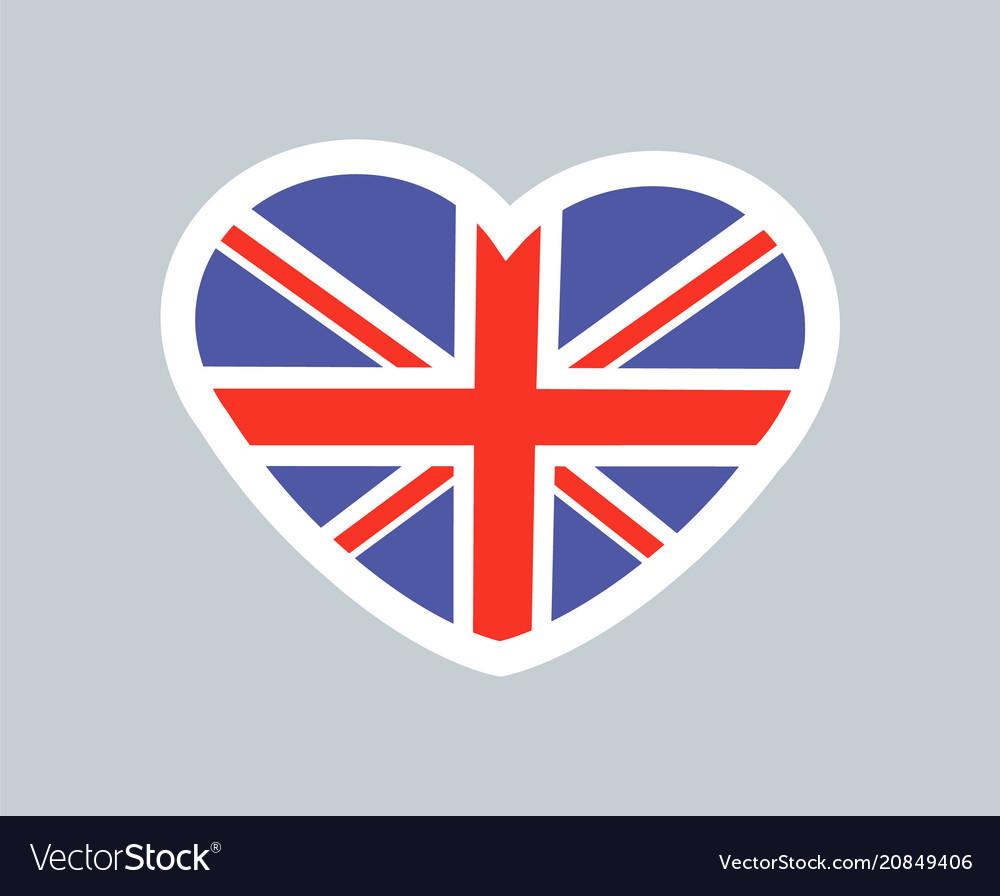 British heart cute sticker