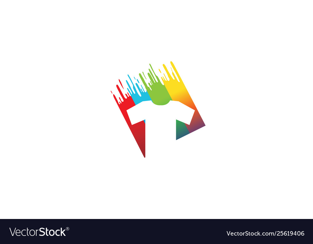 Creative colorful t-shirt silkscreen logo symbol
