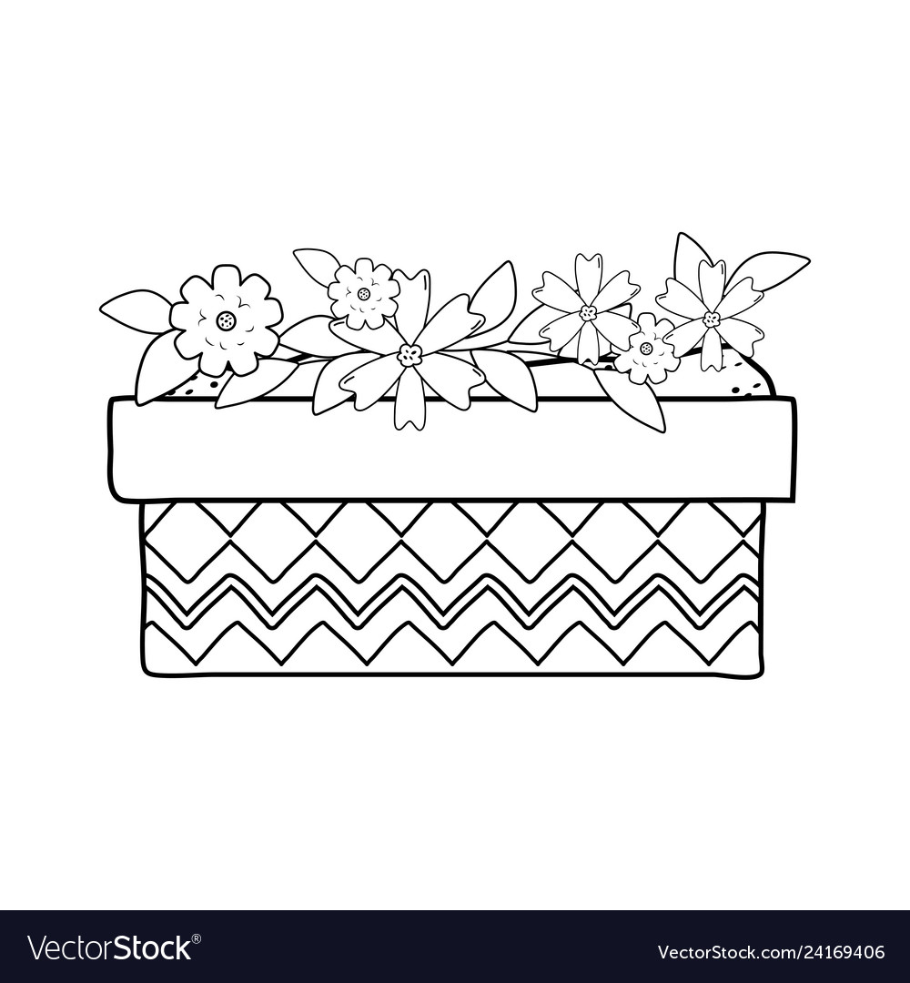 Cute flowers and leafs in pot garden