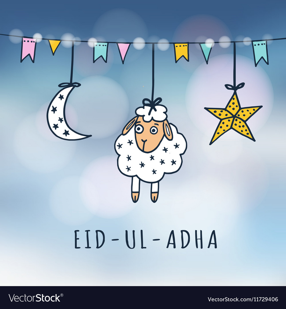 Eid Ul Adha Mubarak Greeting Card With Sheep Moon Vector Image