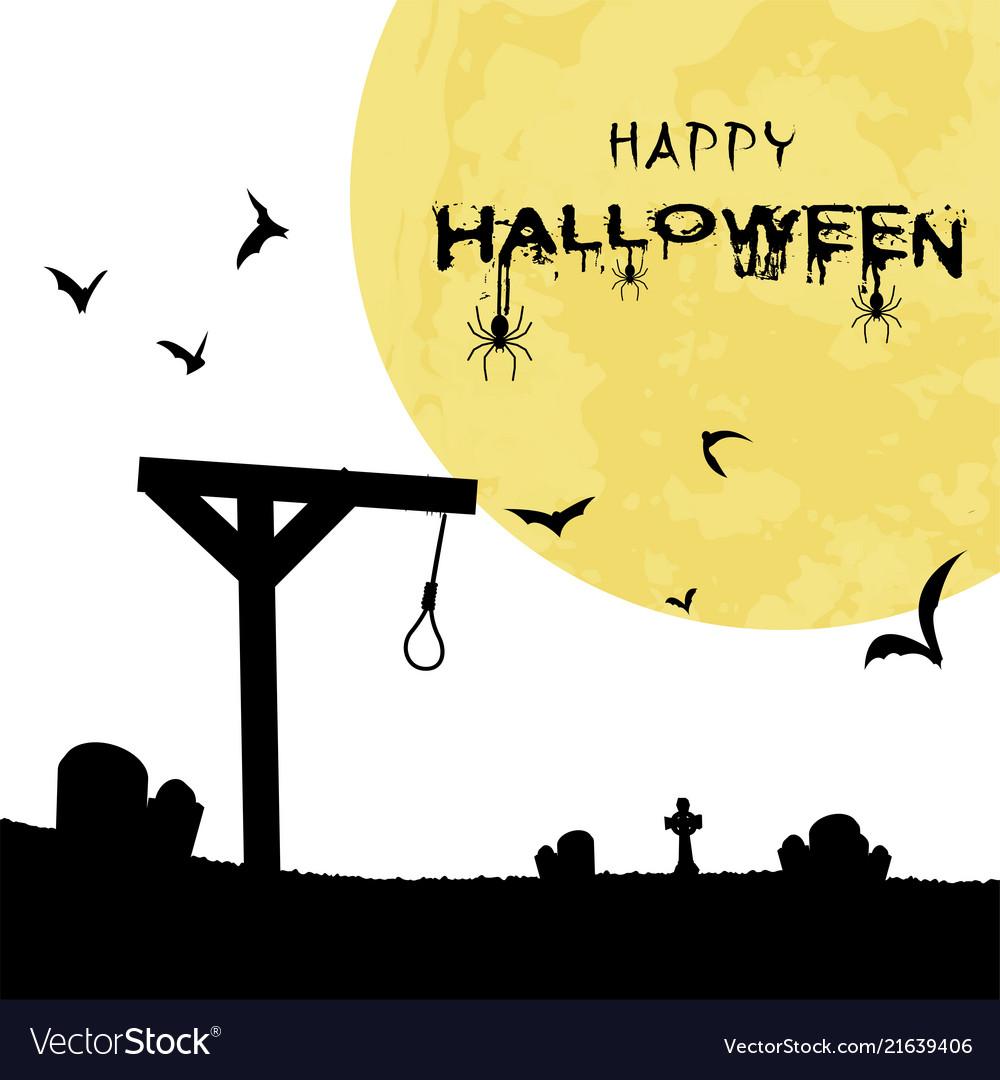 Happy halloween gallows bats grave full moon backg