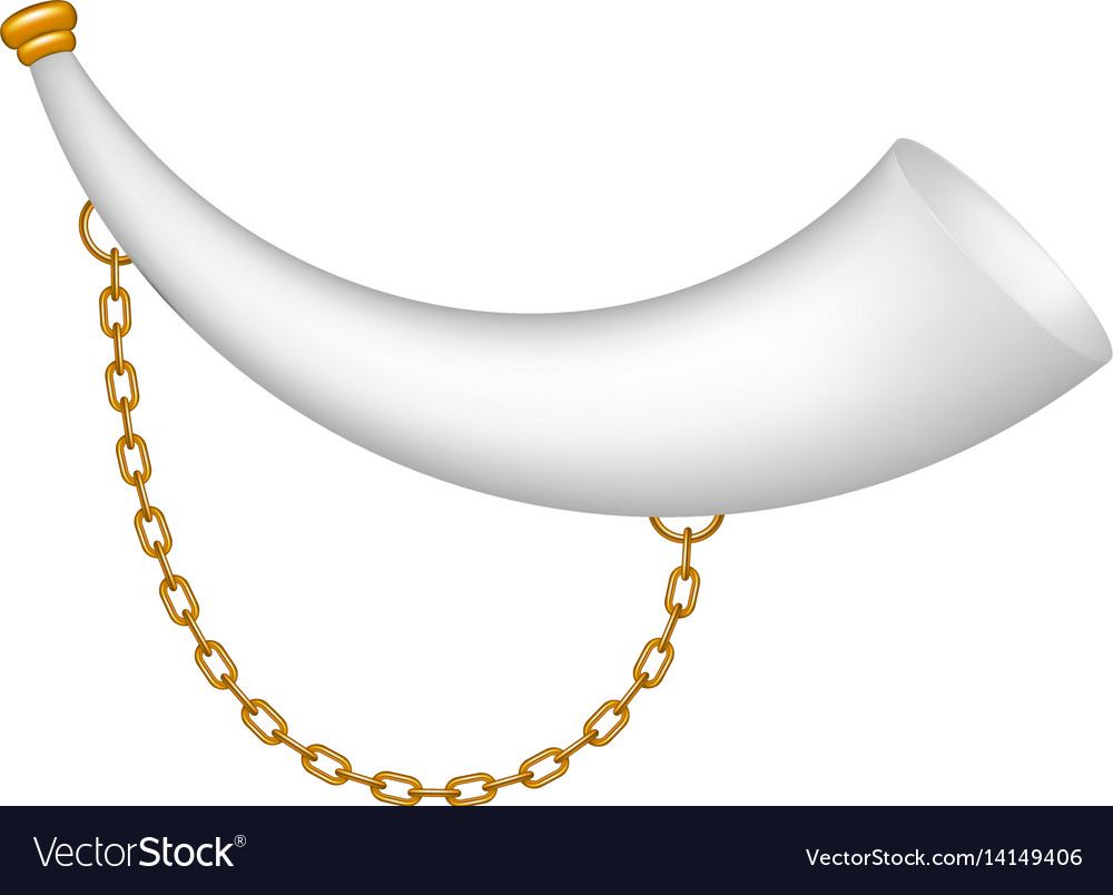 Hunting horn in white design with golden chain vector image
