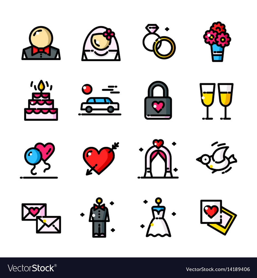 Line wedding day icons set