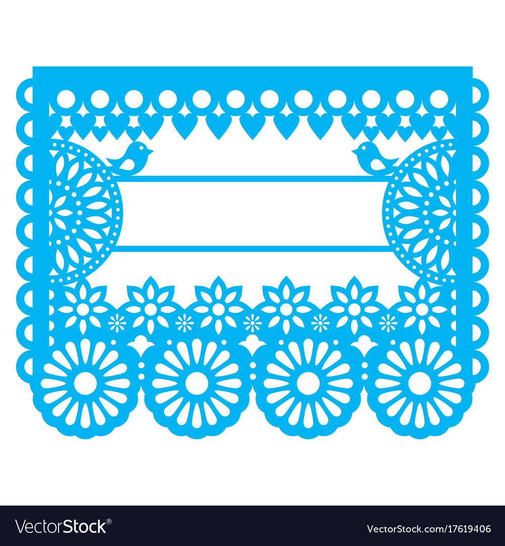 mexican papel picado blank text template design vector image