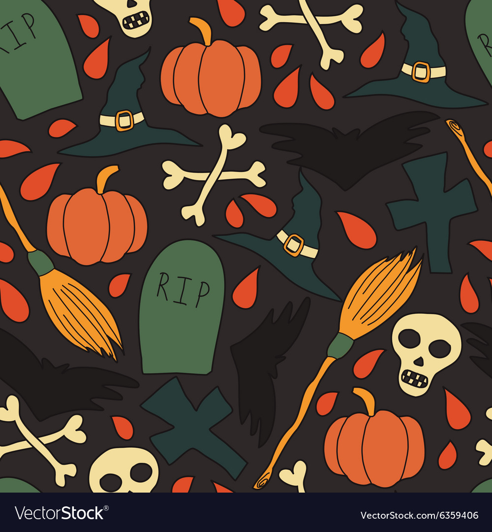 Pattern with traditional halloween elements