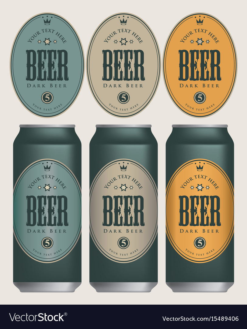 Sample three beer cans with labels