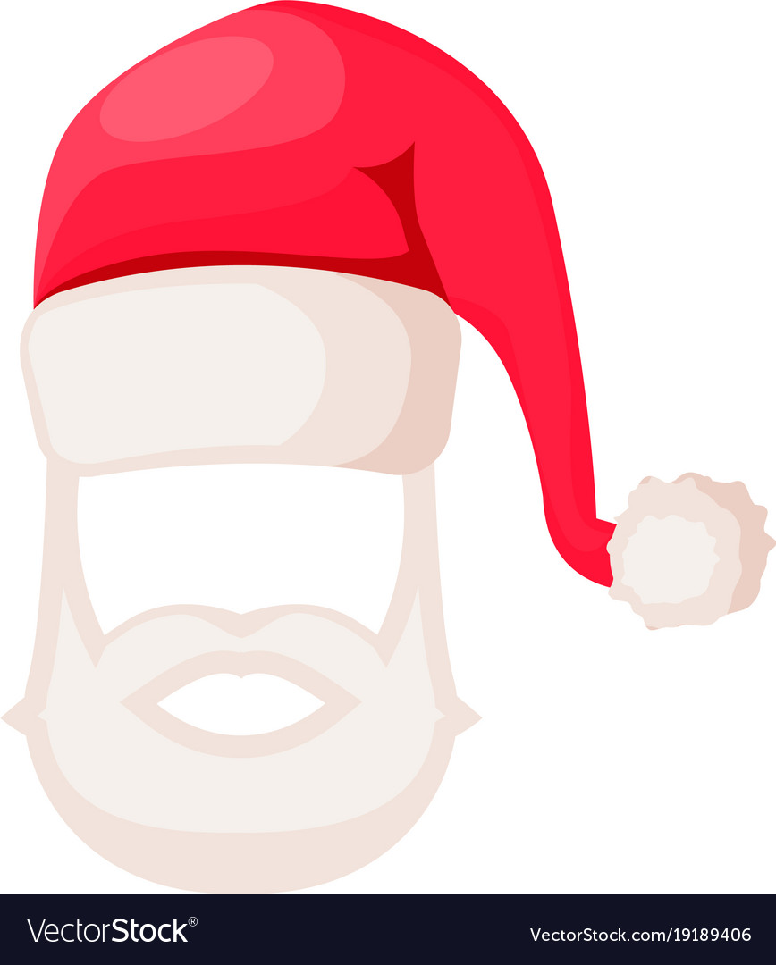 Santa claus hat with beard and moustaches isolated vector image 2a2557c6ffc6